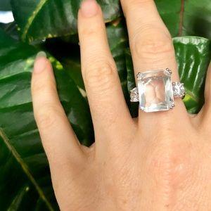 Jewelry - Big CZ Diamond ring wedding silver engagement 6.5
